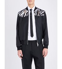 Dsquared2 Tiger Sequinned Satin Bomber Jacket Black