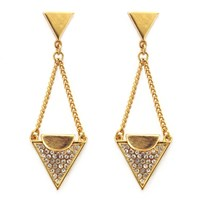 Paige Novick Lola Triangle Chain Drop Earrings Yellow Gold