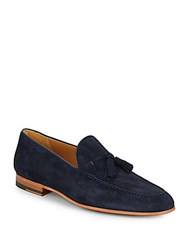 Saks Fifth Avenue By Magnanni Suede Tassel Loafers Navy