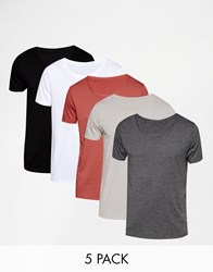 Asos T Shirt With Scoop Neck 5 Pack Save 20 W B Cl Porpo Hotcind Multi
