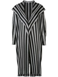 Issey Miyake Pleats Please By Striped Coat Women Polyester 5 Black