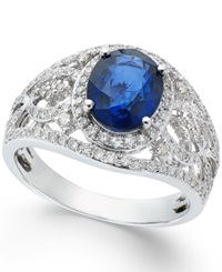 Effy Collection Effy Sapphire 1 9 10 Ct. T.W. And Diamond 1 2 Ct. T.W. Ring In 14K White Gold Blue
