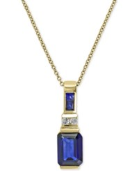 Effy Royale Bleu Sapphire 1 3 4 Ct. T.W. And Diamond Accent Pendant Necklace In 14K Gold Yellow Gold