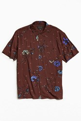 Urban Outfitters Uo Owen Rose Rayon Short Sleeve Button Down Shirt