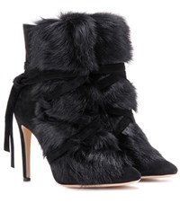 Gianvito Rossi Moritz Fur And Suede Ankle Boots Black