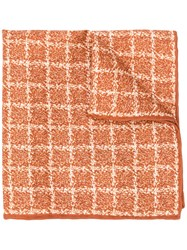 Canali Checked Pocket Square Scarf Brown
