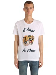 Gucci Tiger Patch Cotton Jersey T Shirt