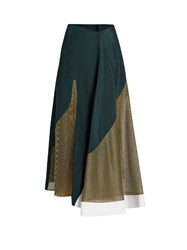 Esteban Cortazar Lame Panelled Silk Crepe Skirt Green Multi
