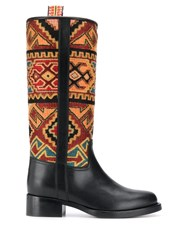 Etro Geometric Pattern Ankle Boots Black