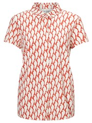 People Tree Parrot Print Shirt Red White