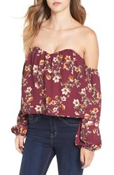 4Si3nna Women's Bustier Off The Shoulder Crop Top Purple Floral