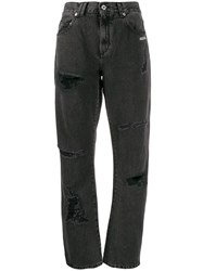 Off White Embroidered Jeans Black