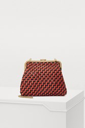 Clare V. Mini Flore Bag Black And Red Woven Zig Zag