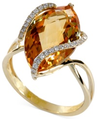 Effy Collection Gemma By Effy Marquise Cut Citrine 8 1 2 Ct. T.W. And Diamond 1 8 Ct. T.W. Wrap Ring In 14K Gold