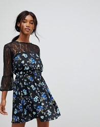 Influence Lace Yoke And Sleeve Floral Skater Dress Black Floral