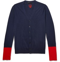 Alexander Mcqueen Slim Fit Colour Block Cashmere Cardigan Blue