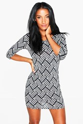 Boohoo 3 4 Sleeve Bodycon Dress Multi