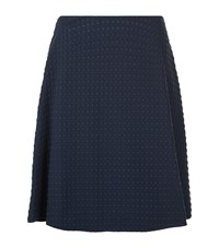 Armani Collezioni Square Knit Skater Skirt Female Blue