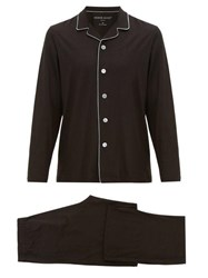 Derek Rose Basel Contrast Piping Pyjamas Black