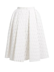 Sara Battaglia Button Through Cotton Blend Fil Coupe Full Skirt White