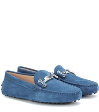 Tod's Gommini Double T Crystal Embellished Suede Loafers Blue