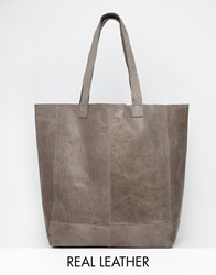 Oasis Leather Unlined Shopper Gy1grey1