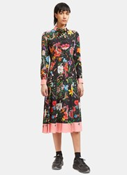 Gucci Wild Rose Flora Snake Pleated Shirt Dress Black