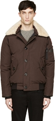 Canada Goose Brown Shearling Collar Foxe Bomber Jacket
