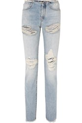 Unravel Project Vinta Spray Distressed Low Rise Skinny Jeans Blue