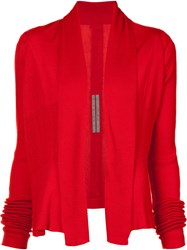 Rick Owens Open Front Cardigan Red
