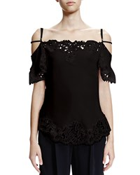 Givenchy Cold Shoulder Lace Trimmed Top Black Men's Size 36