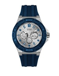 Guess Blue Streak Stainless Steel Silicone Strap Watch