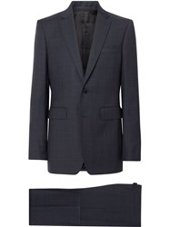 Burberry Classic Fit Windowpane Check Wool Suit Blue