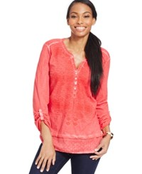 Styleandco. Style And Co. Embroidered Roll Sleeve Top Only At Macy's Lollipop