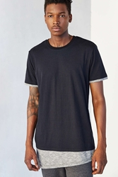 The Narrows Slub Asymmetrical Crew Neck Tee Black