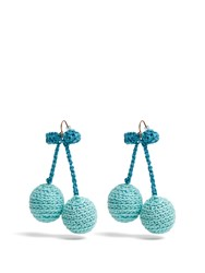 Rosie Assoulin Cherries Crochet Earrings Blue