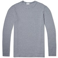 Schiesser Anton Stripe Long Sleeve Crew Tee Dark Blue