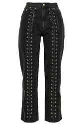 Mcq By Alexander Mcqueen Woman Lace Up High Rise Straight Leg Jeans Charcoal