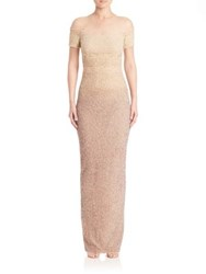 Pamella Roland Sighnature Sequin Gown Champagne