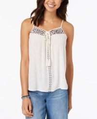 Almost Famous Juniors' Embroidered Tie Front Tank Top Ivory