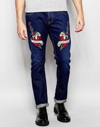 Love Moschino Tattoo Skinny Jean Blue
