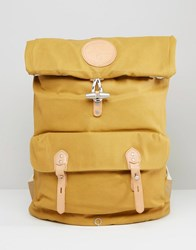 Stighlorgan Reilly Backpack With Roll Top In Lacquered Cotton Canvas Yellow