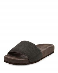 Brunello Cucinelli Monili Flat Slide Sandal Black