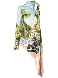 Monse Printed Asymmetric Blouse Green