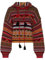 Etro Wool Patterned Hoodie Red