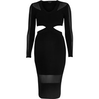 River Island Womens Black Mesh Panel Cut Out Bodycon Dress