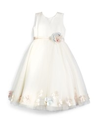 Joan Calabrese Sleeveless Floral Trim Satin And Tulle Dress Ivory