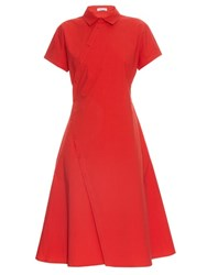 Tomas Maier Twisted Poplin Wrap Dress Red