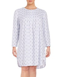 Miss Elaine Plus Floral Print Lace Trim Nightgown Blue