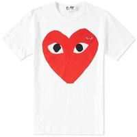 Comme Des Garcons Play Large Double Heart Logo Tee White